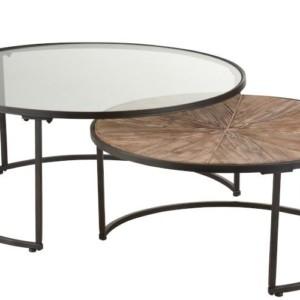 Set De 2 Tables Gigognes Rond Metal Noir
