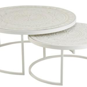 Set De 2 Tables Gigognes Basses Metal Blanc