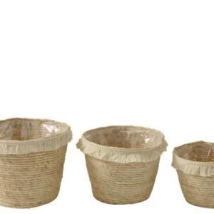 Set De 3 Panier Floche Ecorce De Maïs et Coton Beige