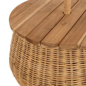 Parasol, Table et Panier De Rangement Rotin/Teck Naturel