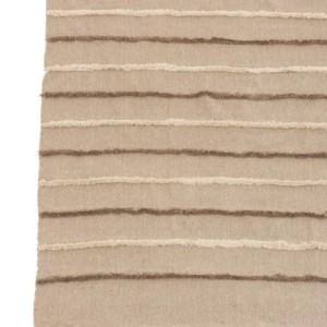 Plaid Lignes Floches Coton Marron/Beige