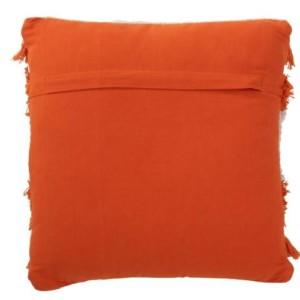 Coussin Lignes Coton Orange/Blanc