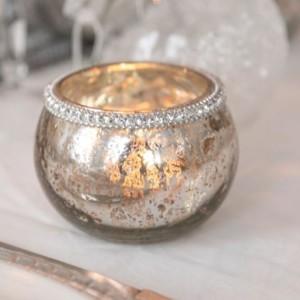 Photophore verre diamant Argent