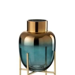 Vase en Verre Turquoise/Or sur Pied Large