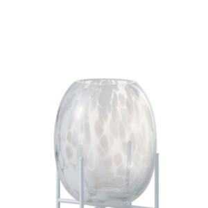 Vase sur Pied Pois Decoratif Verre Transparent/Blanc