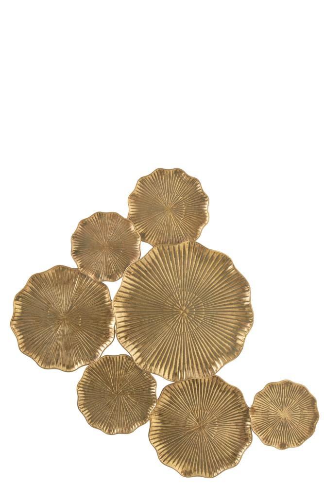 Décor mural 7 fleurs métal or