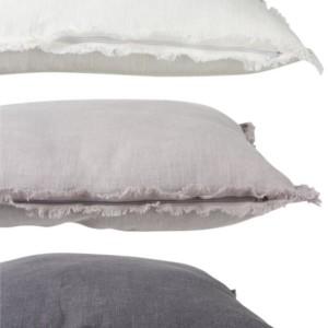 Lot de 3 Coussins Effile Polyester Blanc/Gris