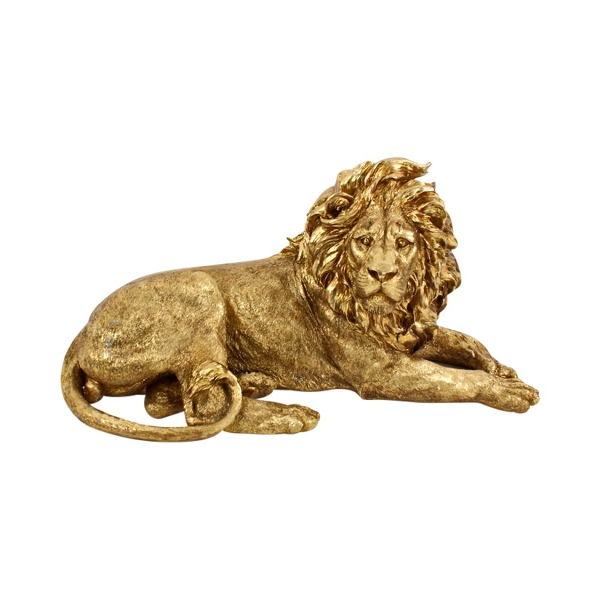 Sculpture Lion en résine Gold
