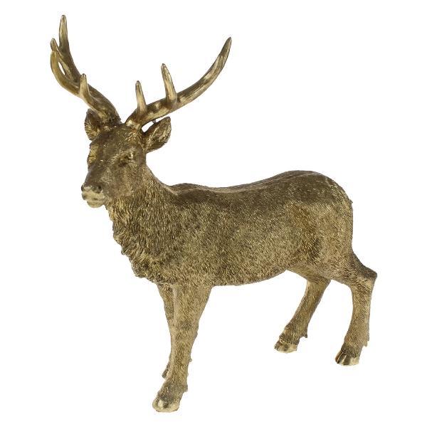 cerf debout, or, polyrésine, 36x15x40 cm