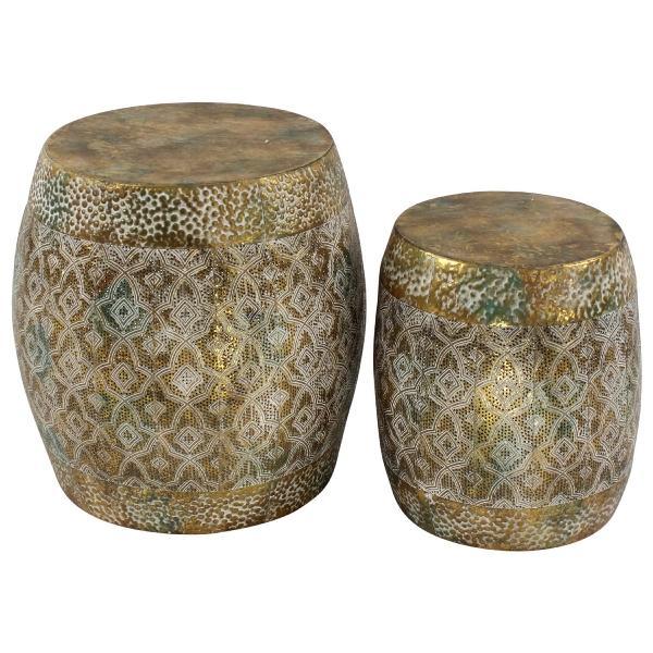 Set 2 Table D'appoint Hocker, gold, Metall, 40,5x41,5 cm